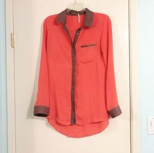 Free People Orange and Tan Lightweight Blouse